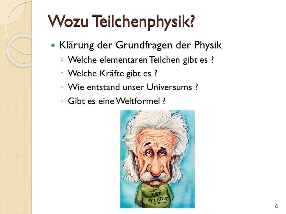 Wozu Teilchenphysik? Klärung der Grundfragen der Physik ◦ Welche elementaren Teilchen gibt es ? ◦ Welche Kräfte gibt es ? ◦ Wie entstand unser Univers