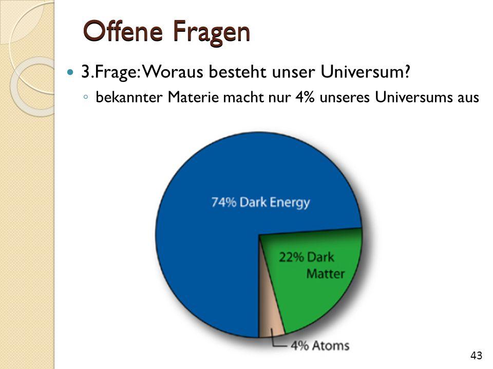 Offene Fragen 3.Frage: Woraus besteht unser Universum? ◦ bekannter Materie macht nur 4% unseres Universums aus 43