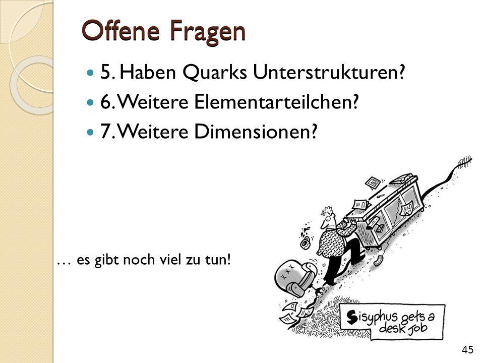 Offene Fragen 5. Haben Quarks Unterstrukturen? 6. Weitere Elementarteilchen? 7. Weitere Dimensionen? 45 … es gibt noch viel zu tun!
