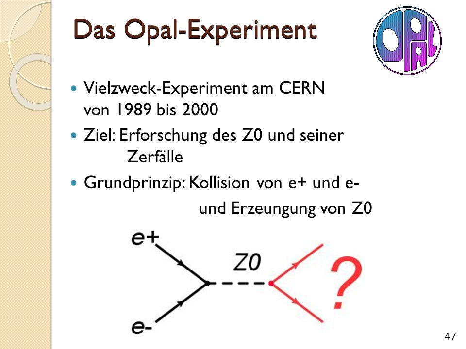 Das Opal-Experiment Vielzweck-Experiment am CERN von 1989 bis 2000 Ziel: Erforschung des Z0 und seiner Zerfälle Grundprinzip: Kollision von e+ und e- und Erzeungung von Z0 47