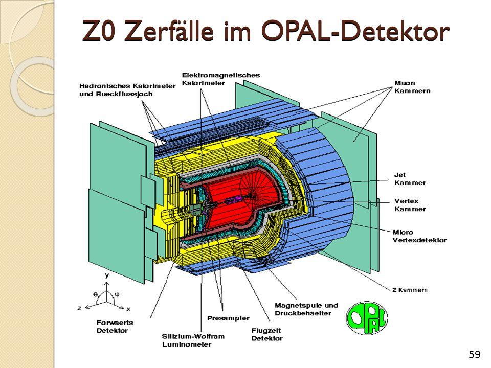 Z0 Zerfälle im OPAL-Detektor 59