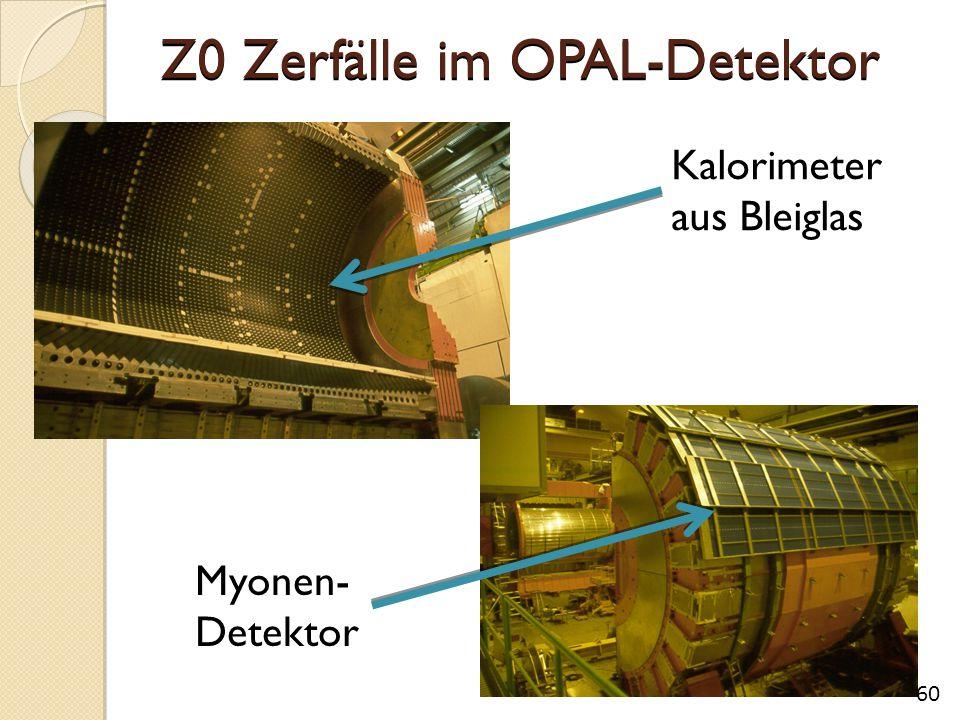 Z0 Zerfälle im OPAL-Detektor 60 Kalorimeter aus Bleiglas Myonen- Detektor