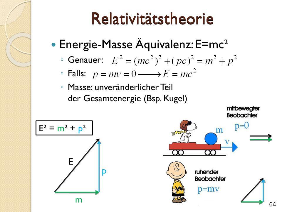 Relativitätstheorie Energie-Masse Äquivalenz: E=mc² ◦ Genauer: ◦ Falls: ◦ Masse: unveränderlicher Teil der Gesamtenergie (Bsp. Kugel) E² = m² + p² E m