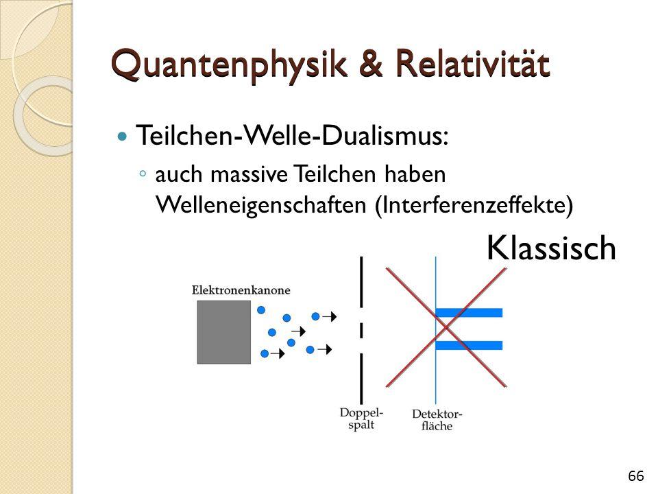 Quantenphysik & Relativität Teilchen-Welle-Dualismus: ◦ auch massive Teilchen haben Welleneigenschaften (Interferenzeffekte) Klassisch 66