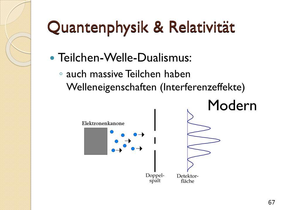 Quantenphysik & Relativität Teilchen-Welle-Dualismus: ◦ auch massive Teilchen haben Welleneigenschaften (Interferenzeffekte) Modern 67