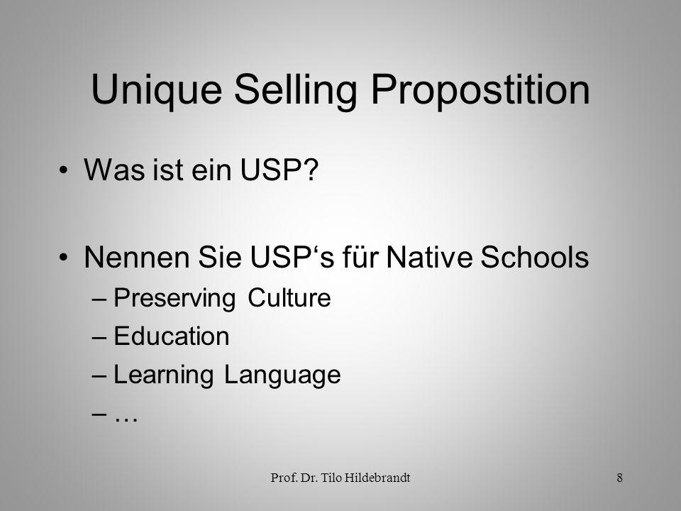 Prof.Dr. Tilo Hildebrandt8 Unique Selling Propostition Was ist ein USP.