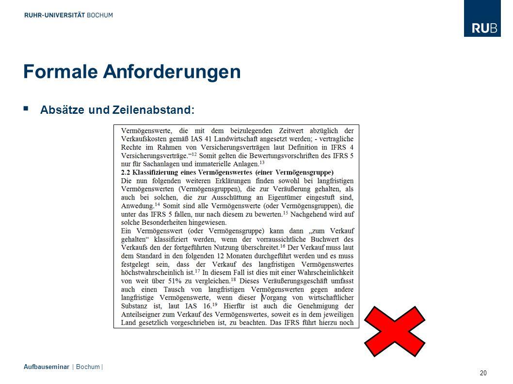 20 Aufbauseminar | Bochum |  Absätze und Zeilenabstand: Formale Anforderungen