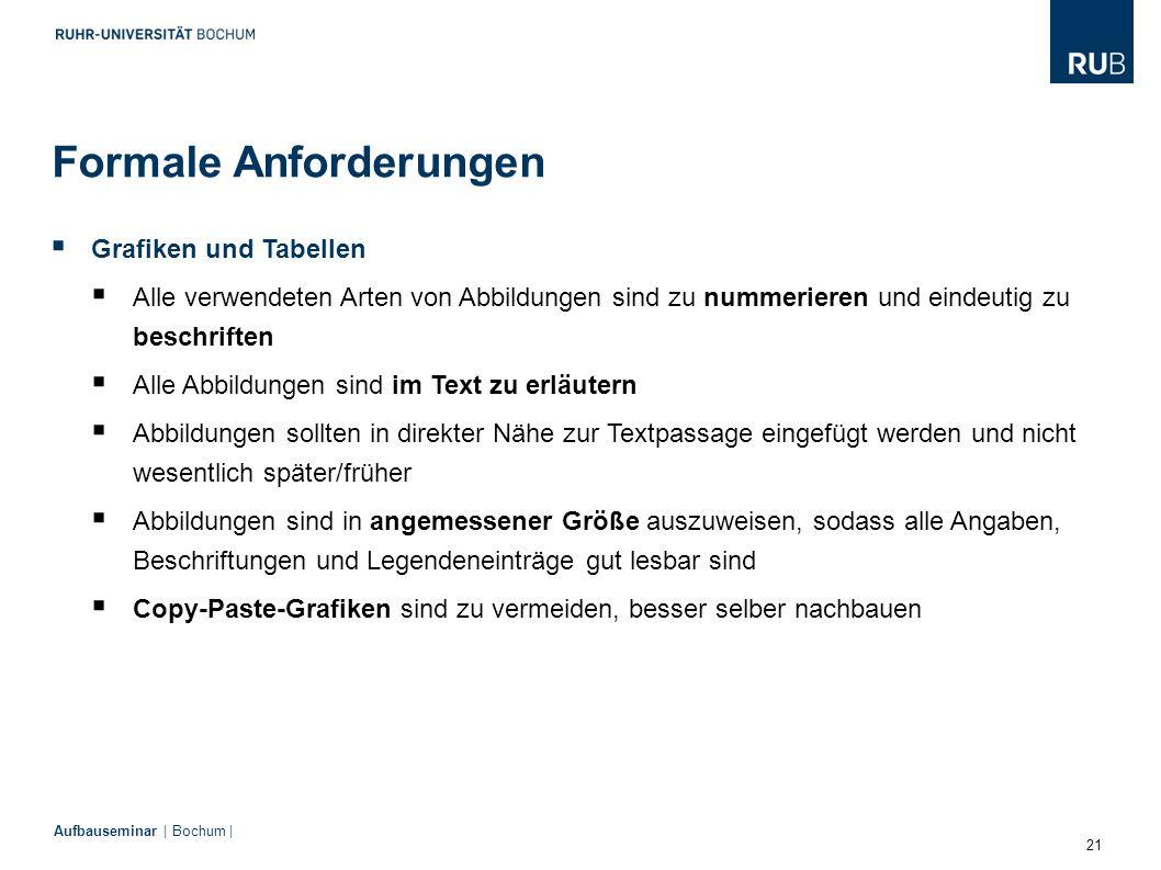 21 Aufbauseminar | Bochum | Formale Anforderungen  Grafiken und Tabellen  Alle verwendeten Arten von Abbildungen sind zu nummerieren und eindeutig z