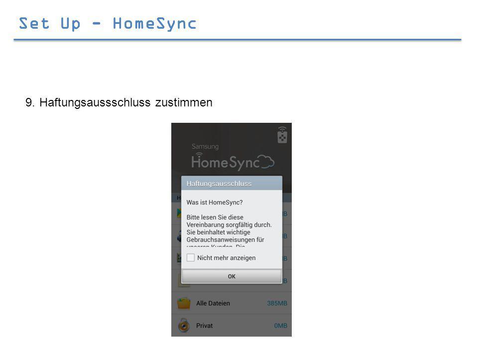 Set Up - HomeSync 9.Haftungsaussschluss zustimmen