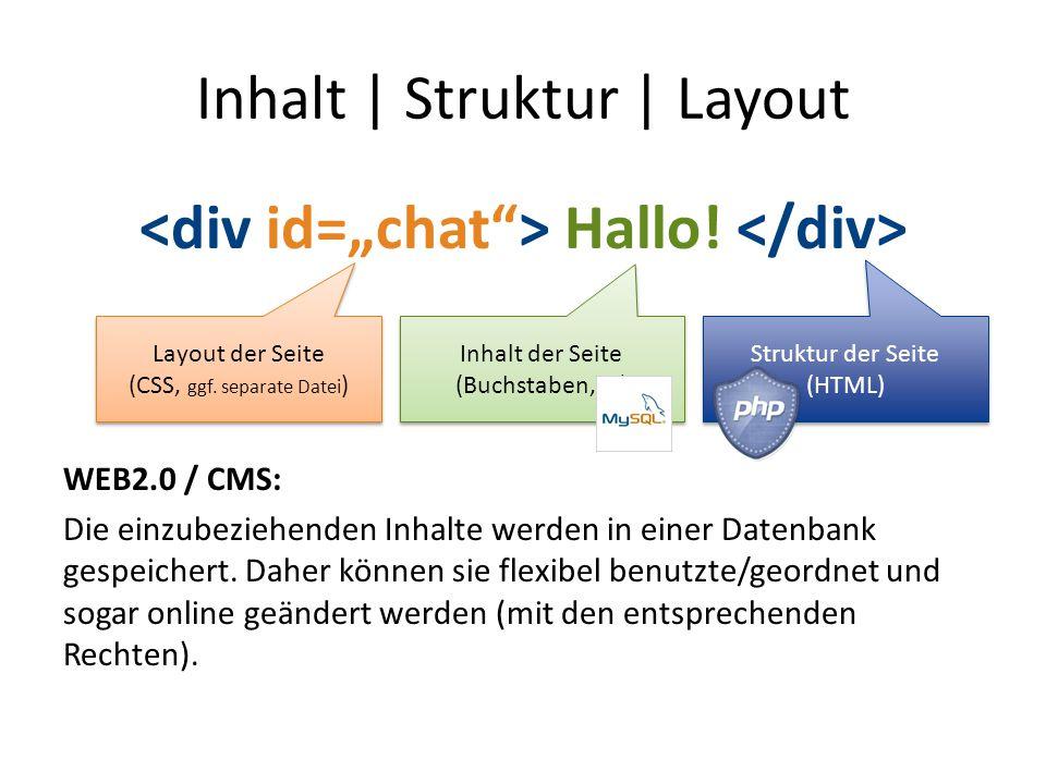 Inhalt | Struktur | Layout Hallo! WEB2.0 / CMS: Die einzubeziehenden Inhalte werden in einer Datenbank gespeichert. Daher können sie flexibel benutzte