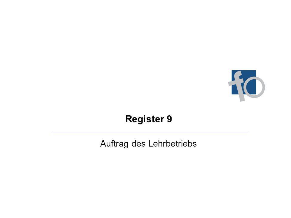 Register 9 Auftrag des Lehrbetriebs