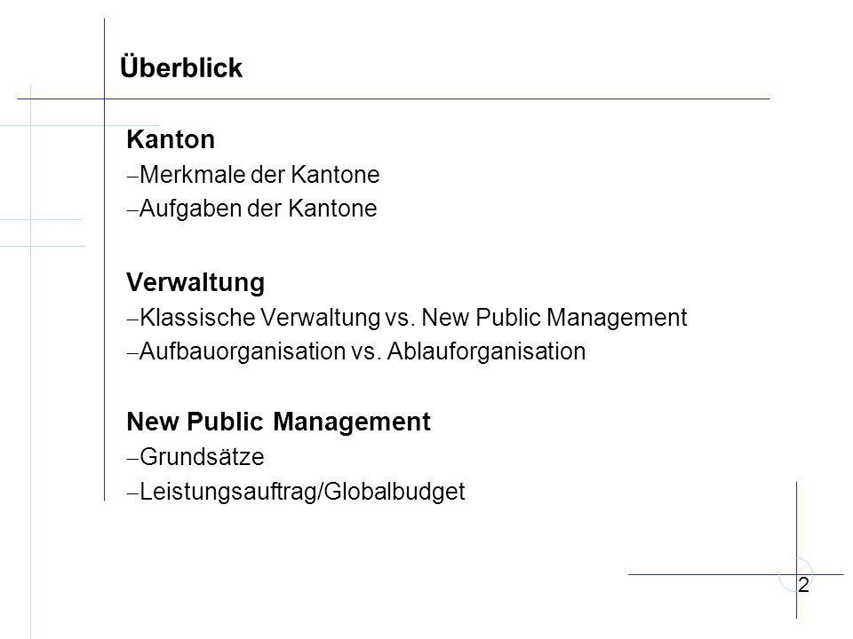Überblick Kanton  Merkmale der Kantone  Aufgaben der Kantone Verwaltung  Klassische Verwaltung vs.