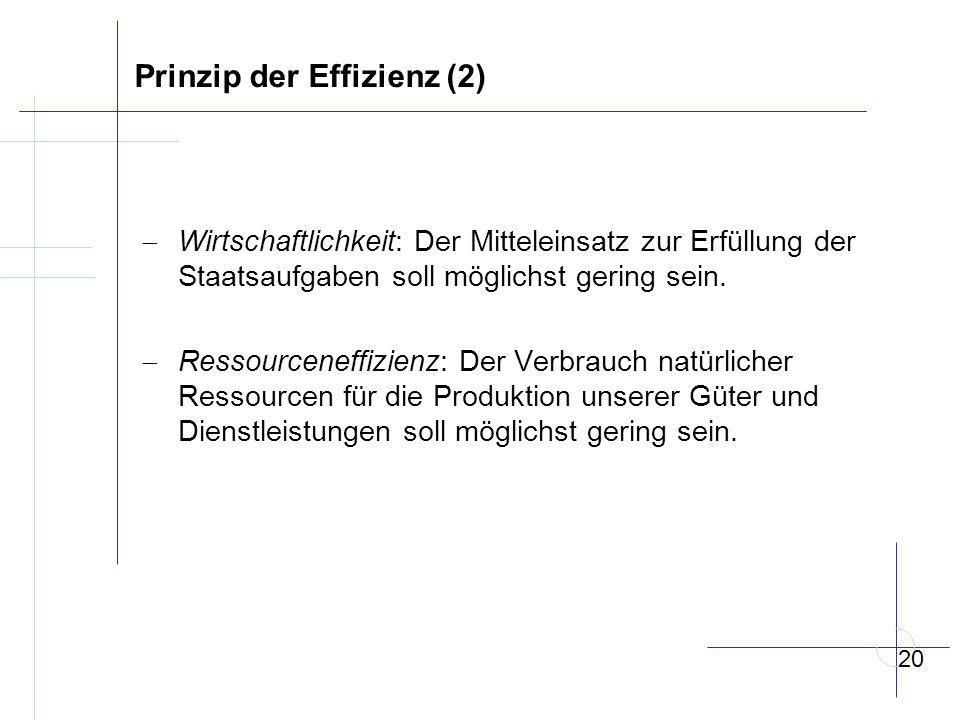 Prinzip der Effizienz (2)  Wirtschaftlichkeit: Der Mitteleinsatz zur Erfüllung der Staatsaufgaben soll möglichst gering sein.