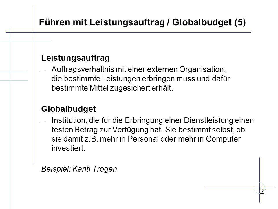 Führen mit Leistungsauftrag / Globalbudget (5) Leistungsauftrag  Auftragsverhältnis mit einer externen Organisation, die bestimmte Leistungen erbringen muss und dafür bestimmte Mittel zugesichert erhält.