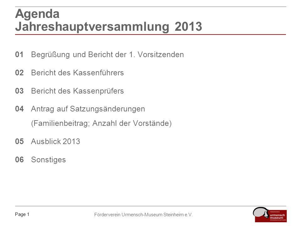 Page 1 Förderverein Urmensch-Museum Steinheim e.V. Agenda Jahreshauptversammlung 2013 01Begrüßung und Bericht der 1. Vorsitzenden 02Bericht des Kassen