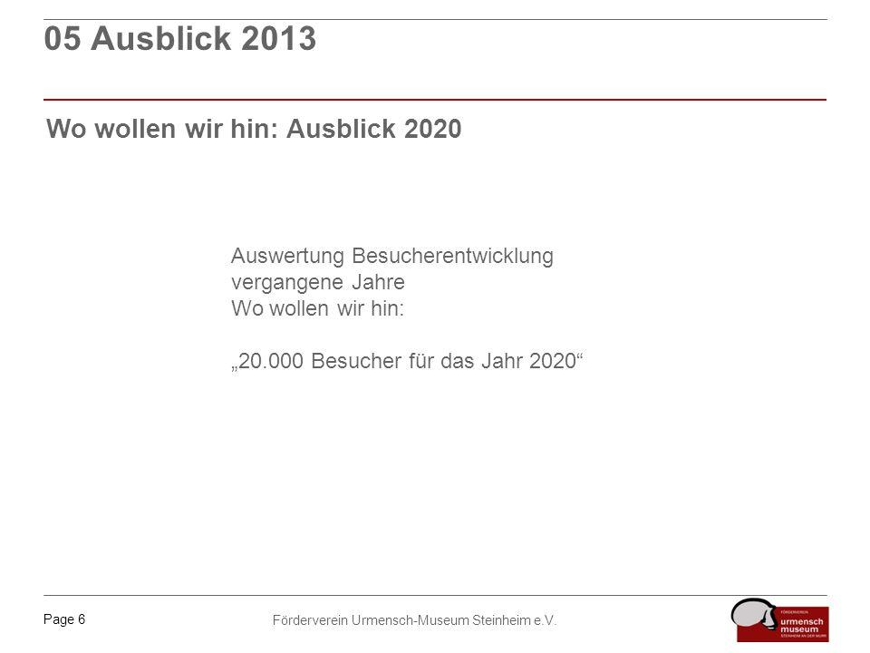 Page 6 Förderverein Urmensch-Museum Steinheim e.V. 05 Ausblick 2013 Wo wollen wir hin: Ausblick 2020 Auswertung Besucherentwicklung vergangene Jahre W