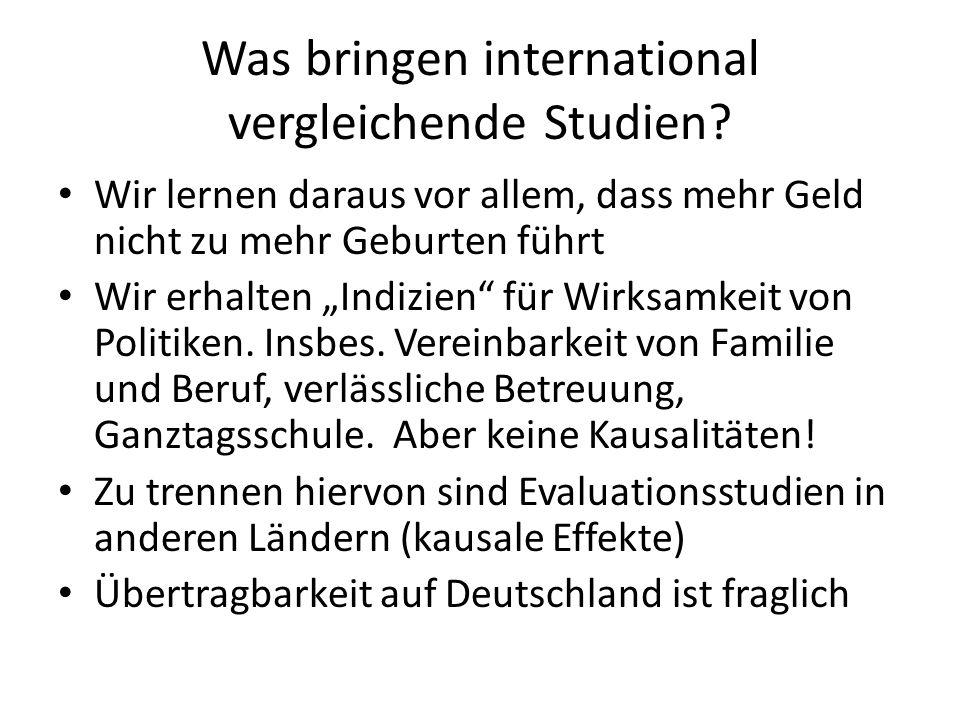 """Was bringen international vergleichende Studien? Wir lernen daraus vor allem, dass mehr Geld nicht zu mehr Geburten führt Wir erhalten """"Indizien"""" für"""