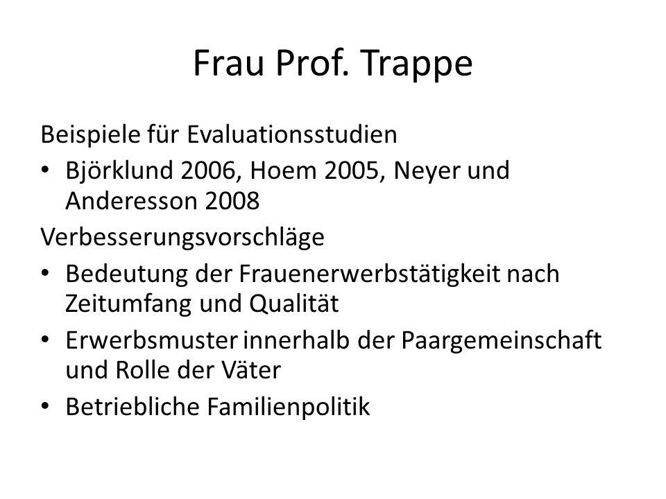 Frau Prof. Trappe Beispiele für Evaluationsstudien Björklund 2006, Hoem 2005, Neyer und Anderesson 2008 Verbesserungsvorschläge Bedeutung der Frauener