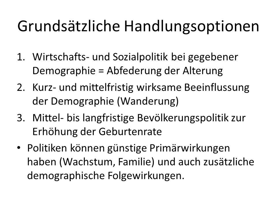 Grundsätzliche Handlungsoptionen 1.Wirtschafts- und Sozialpolitik bei gegebener Demographie = Abfederung der Alterung 2.Kurz- und mittelfristig wirksa