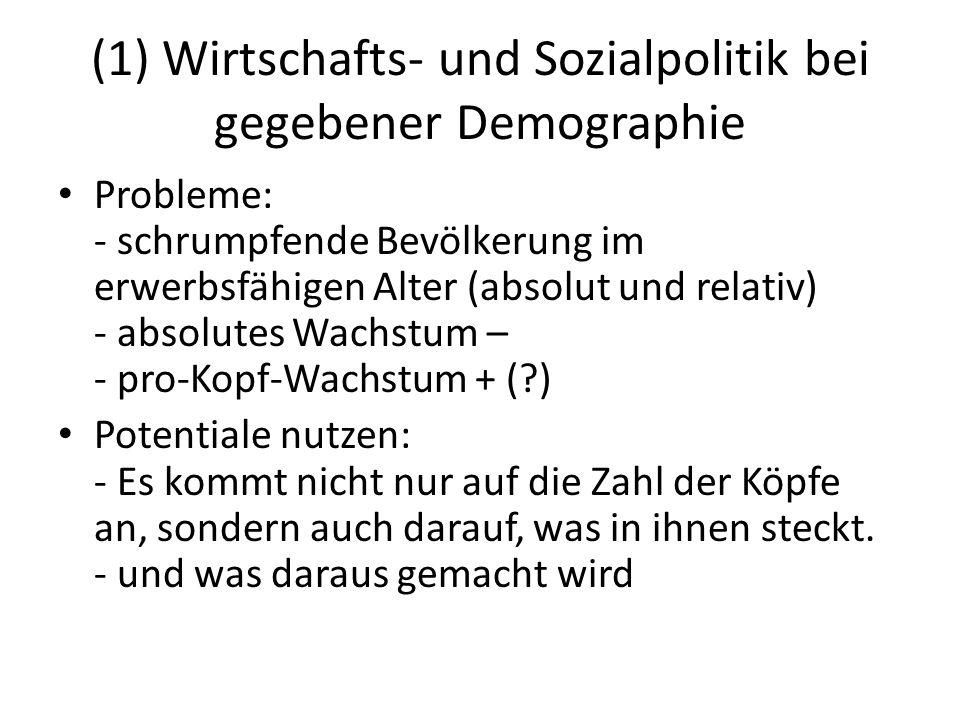 (1) Wirtschafts- und Sozialpolitik bei gegebener Demographie Probleme: - schrumpfende Bevölkerung im erwerbsfähigen Alter (absolut und relativ) - abso