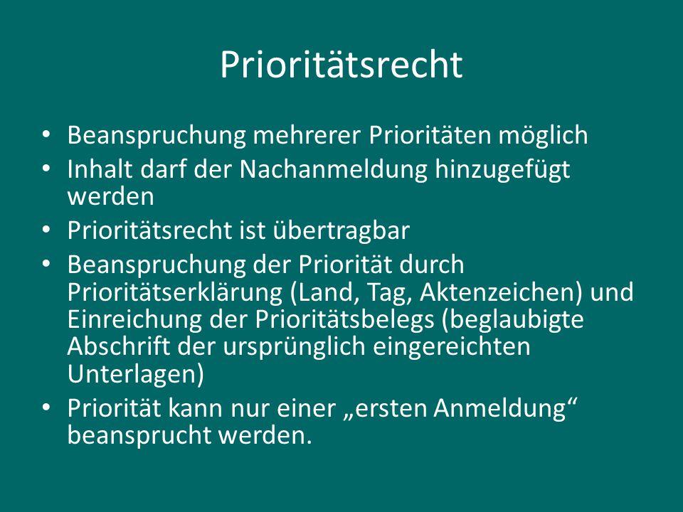 Prioritätsrecht Beanspruchung mehrerer Prioritäten möglich Inhalt darf der Nachanmeldung hinzugefügt werden Prioritätsrecht ist übertragbar Beanspruch