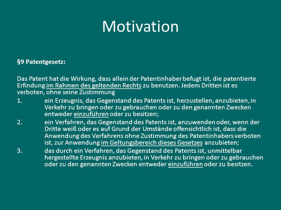 Motivation §9 Patentgesetz: Das Patent hat die Wirkung, dass allein der Patentinhaber befugt ist, die patentierte Erfindung im Rahmen des geltenden Re