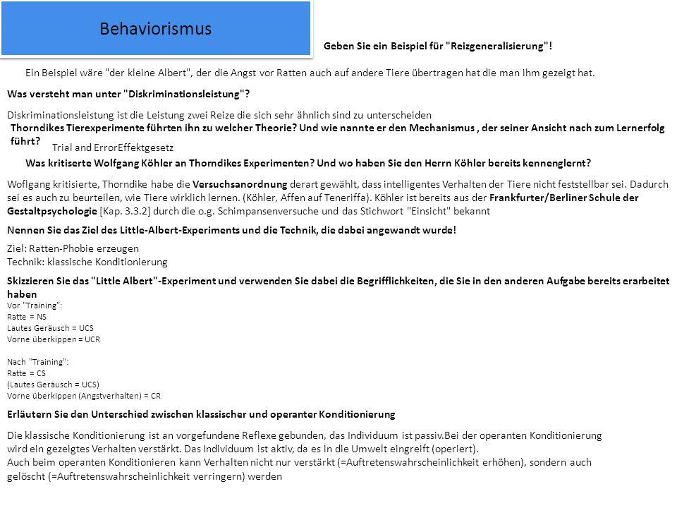 Behaviorismus Geben Sie ein Beispiel für