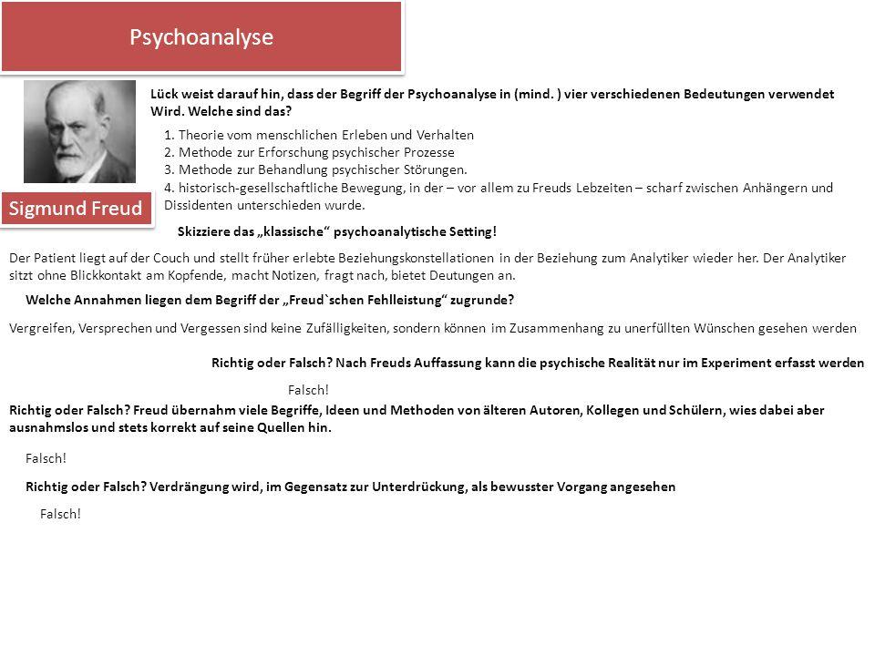 Psychoanalyse Sigmund Freud Lück weist darauf hin, dass der Begriff der Psychoanalyse in (mind. ) vier verschiedenen Bedeutungen verwendet Wird. Welch