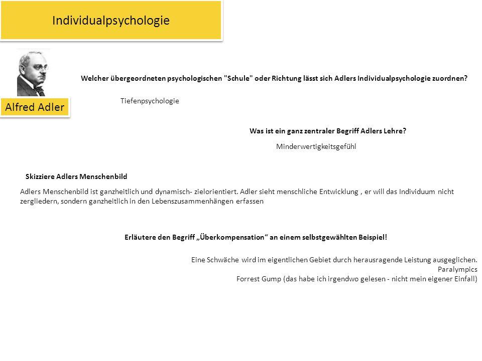 """Individualpsychologie Alfred Adler Was ist ein ganz zentraler Begriff Adlers Lehre? Skizziere Adlers Menschenbild Erläutere den Begriff """"Überkompensat"""