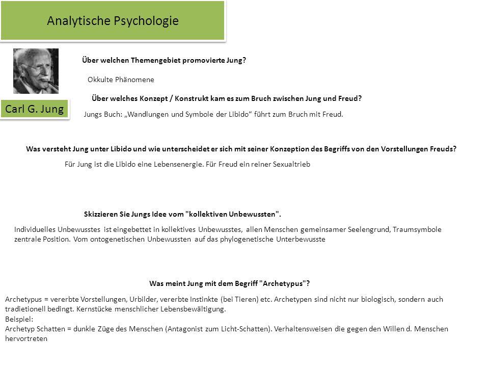 Analytische Psychologie Carl G. Jung Über welchen Themengebiet promovierte Jung? Okkulte Phänomene Über welches Konzept / Konstrukt kam es zum Bruch z