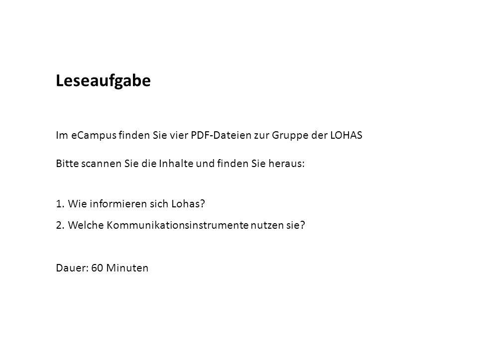 Leseaufgabe Im eCampus finden Sie vier PDF-Dateien zur Gruppe der LOHAS Bitte scannen Sie die Inhalte und finden Sie heraus: 1. Wie informieren sich L