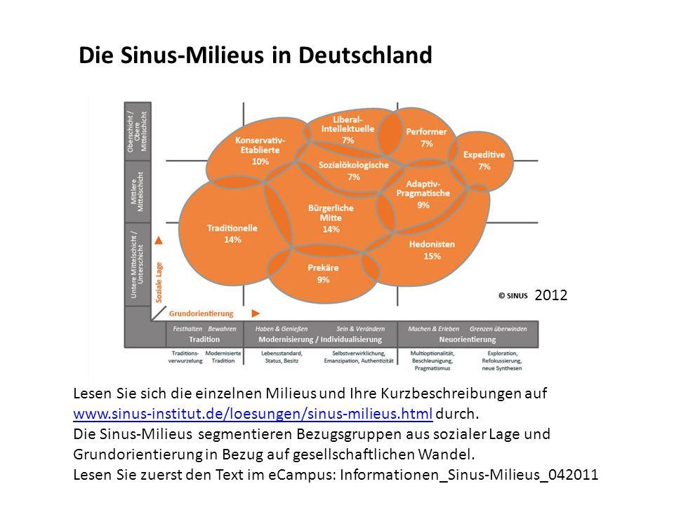 Lesen Sie sich die einzelnen Milieus und Ihre Kurzbeschreibungen auf www.sinus-institut.de/loesungen/sinus-milieus.html durch. www.sinus-institut.de/l