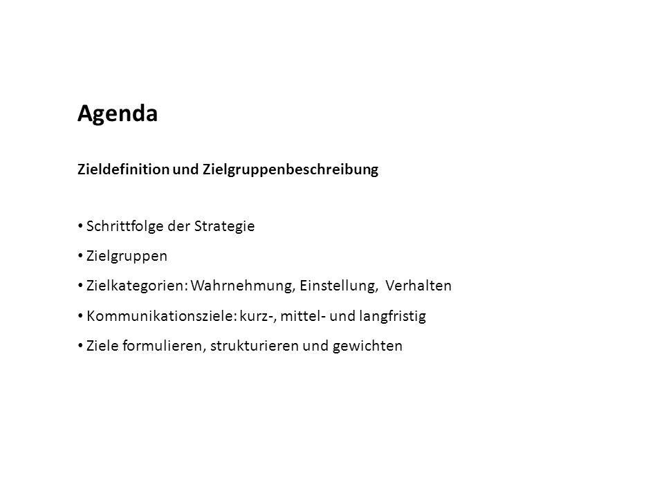 Agenda Zieldefinition und Zielgruppenbeschreibung Schrittfolge der Strategie Zielgruppen Zielkategorien: Wahrnehmung, Einstellung, Verhalten Kommunika
