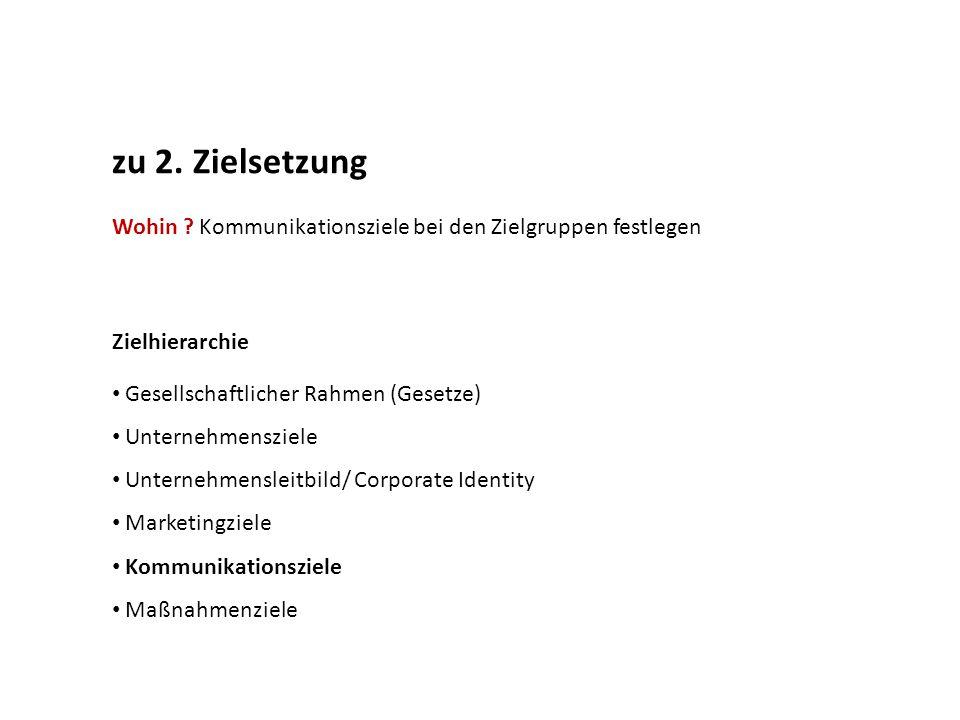zu 2. Zielsetzung Wohin ? Kommunikationsziele bei den Zielgruppen festlegen Zielhierarchie Gesellschaftlicher Rahmen (Gesetze) Unternehmensziele Unter