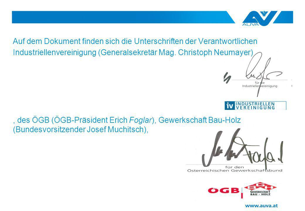 Auf dem Dokument finden sich die Unterschriften der Verantwortlichen Industriellenvereinigung (Generalsekretär Mag. Christoph Neumayer), des ÖGB (ÖGB-