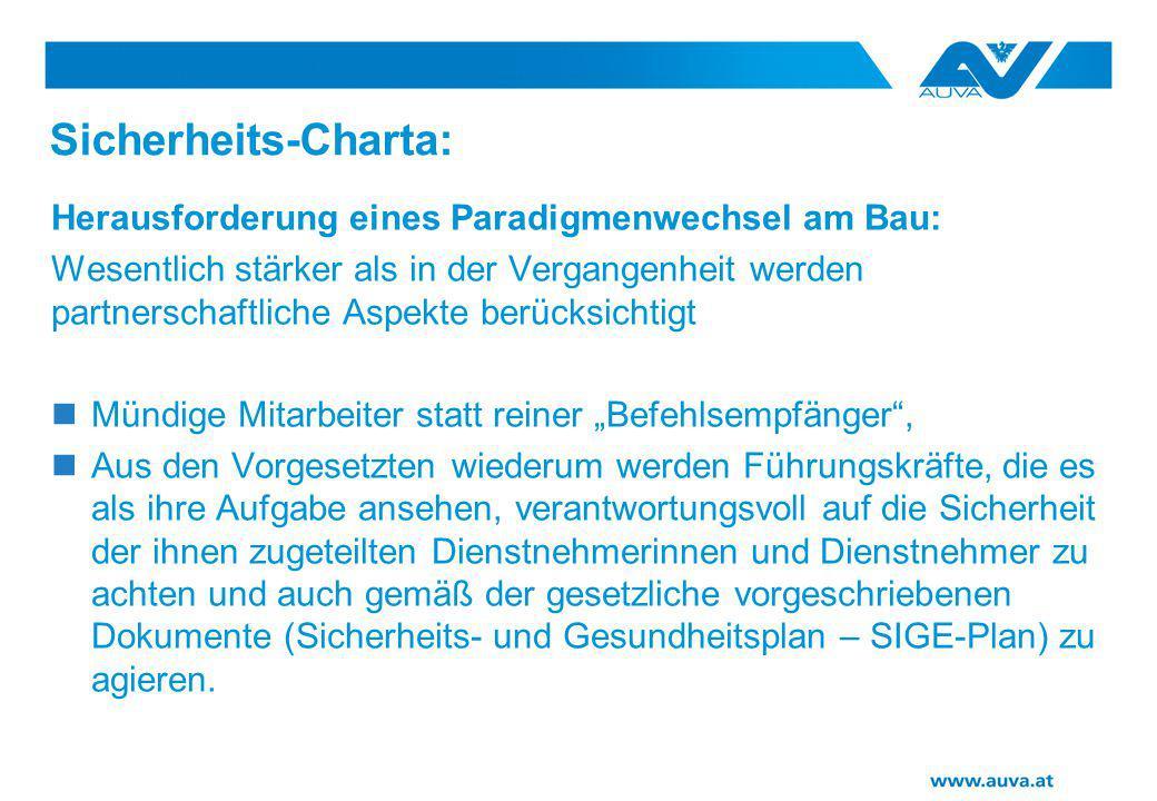 Sicherheits-Charta: Herausforderung eines Paradigmenwechsel am Bau: Wesentlich stärker als in der Vergangenheit werden partnerschaftliche Aspekte berü