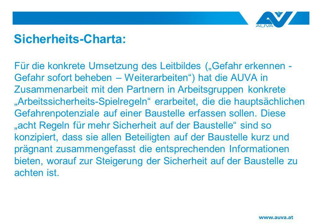 """Sicherheits-Charta: Für die konkrete Umsetzung des Leitbildes (""""Gefahr erkennen - Gefahr sofort beheben – Weiterarbeiten"""") hat die AUVA in Zusammenarb"""