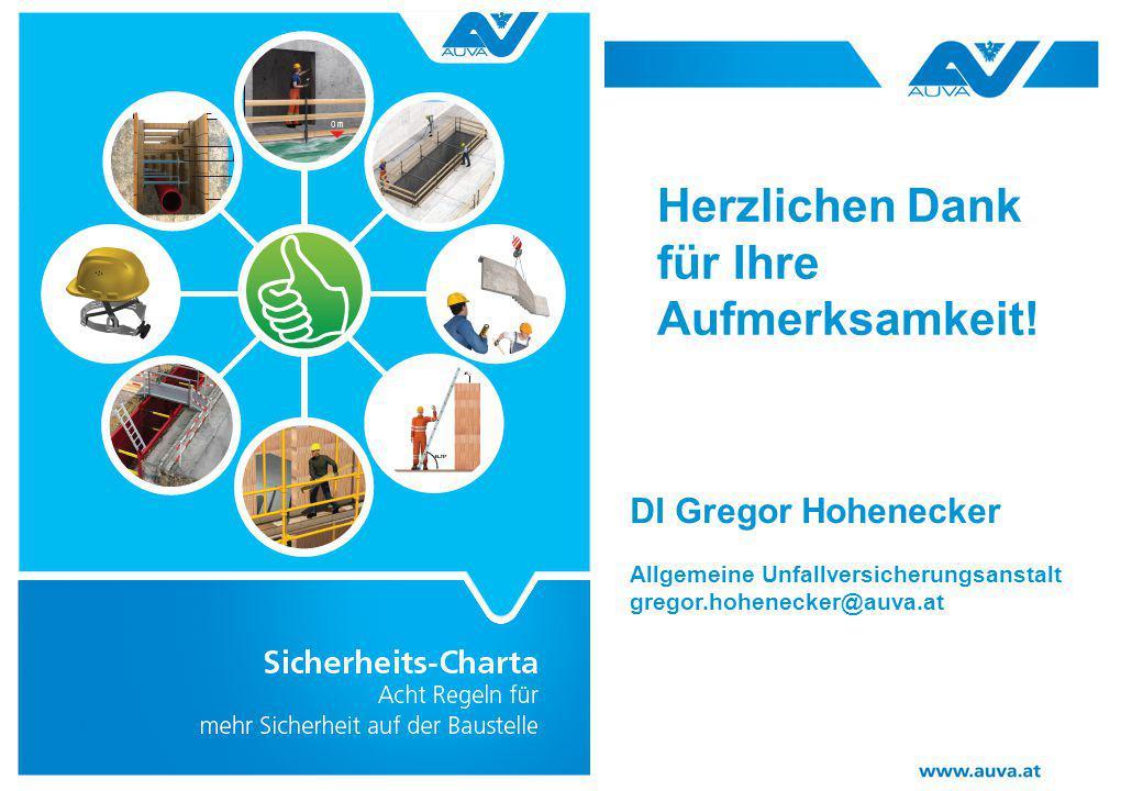 Herzlichen Dank für Ihre Aufmerksamkeit! DI Gregor Hohenecker Allgemeine Unfallversicherungsanstalt gregor.hohenecker@auva.at