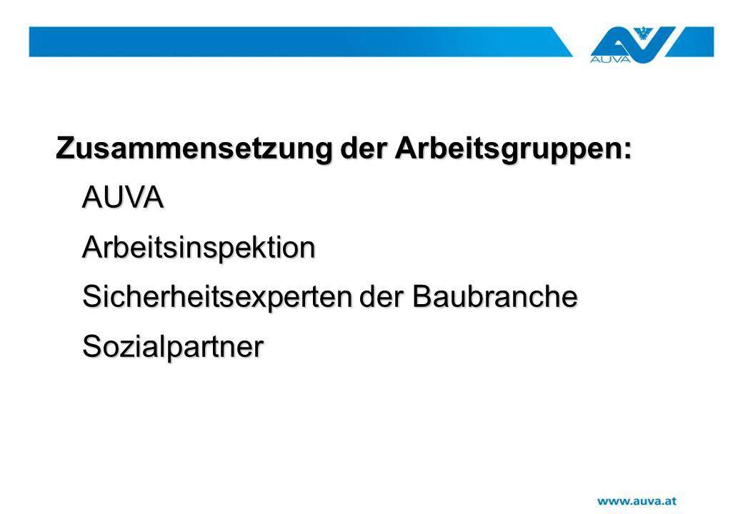 Zusammensetzung der Arbeitsgruppen: Zusammensetzung der Arbeitsgruppen:AUVAArbeitsinspektion Sicherheitsexperten der Baubranche Sozialpartner