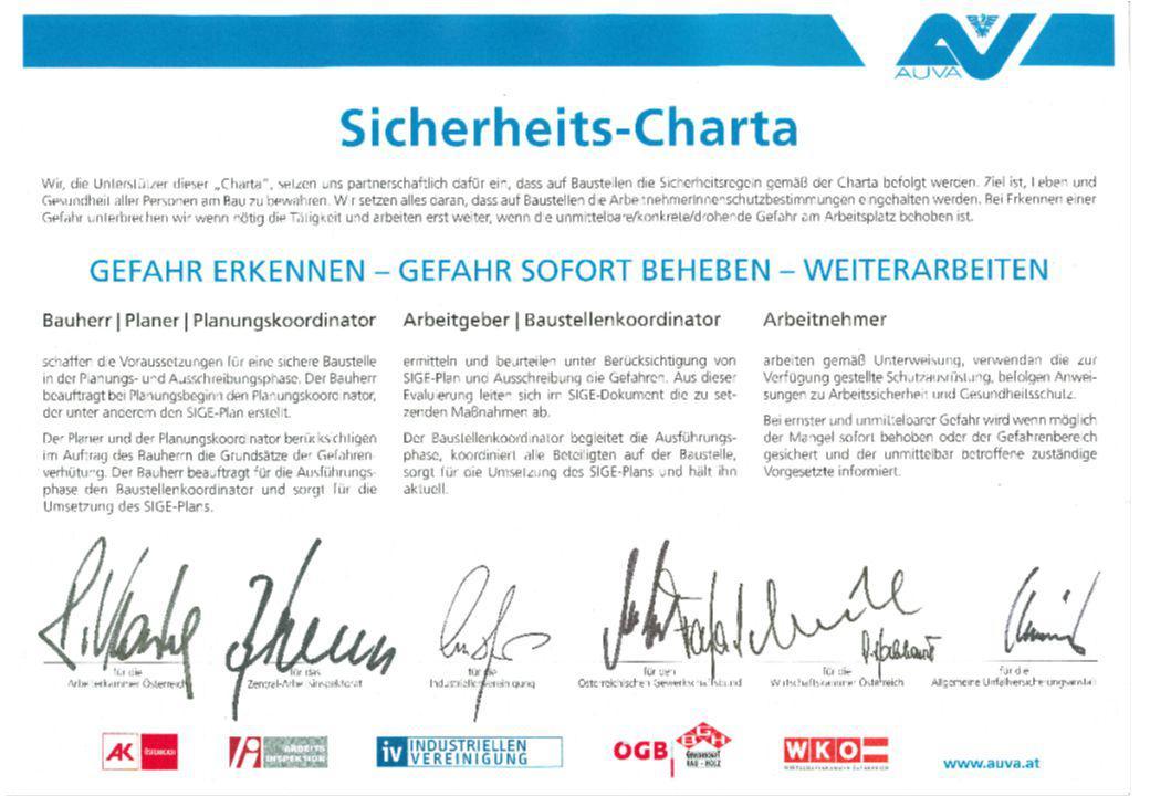 Auf dem Dokument finden sich die Unterschriften der Verantwortlichen der Bundesarbeitskammer (Präsident Rudolf Kaske), dem zentralen Arbeitsinspektorat (Bundesminister Rudolf Hundstorfer),