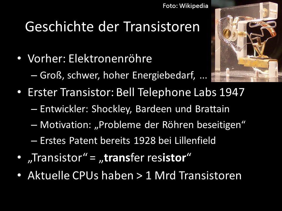 Geschichte der Transistoren Vorher: Elektronenröhre – Groß, schwer, hoher Energiebedarf,... Erster Transistor: Bell Telephone Labs 1947 – Entwickler: