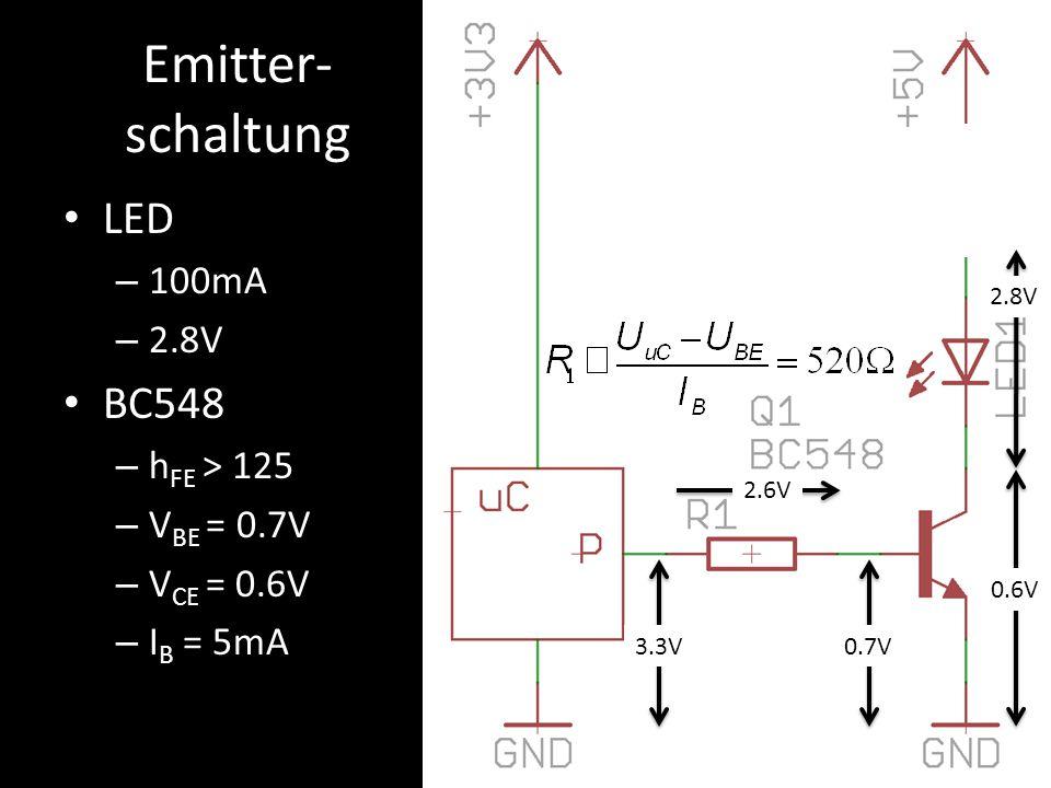 Emitter- schaltung LED – 100mA – 2.8V BC548 – h FE > 125 – V BE = 0.7V – V CE = 0.6V – I B = 5mA 0.7V3.3V 2.6V 0.6V 2.8V v