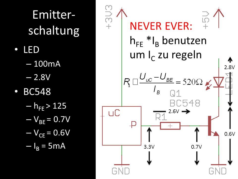 Emitter- schaltung LED – 100mA – 2.8V BC548 – h FE > 125 – V BE = 0.7V – V CE = 0.6V – I B = 5mA 0.7V3.3V 2.6V 0.6V 2.8V v NEVER EVER: h FE *I B benut
