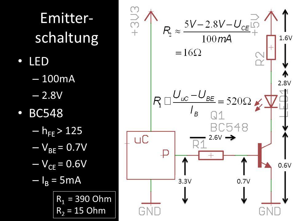 Emitter- schaltung LED – 100mA – 2.8V BC548 – h FE > 125 – V BE = 0.7V – V CE = 0.6V – I B = 5mA 0.7V3.3V 2.6V 0.6V 2.8V 1.6V R 1 = 390 Ohm R 2 = 15 O