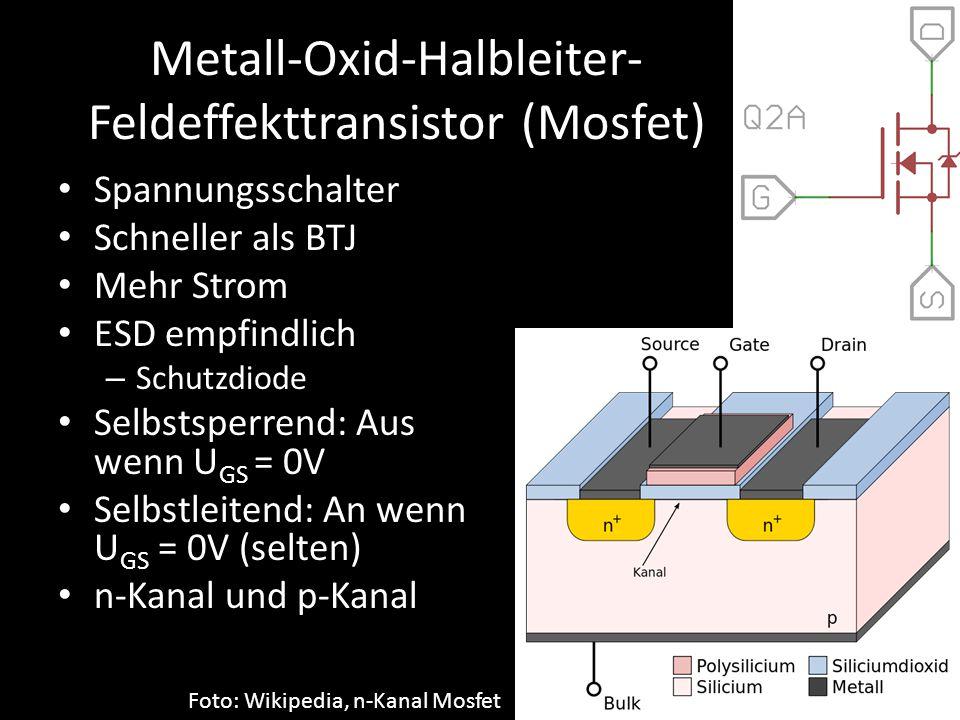 Metall-Oxid-Halbleiter- Feldeffekttransistor (Mosfet) Spannungsschalter Schneller als BTJ Mehr Strom ESD empfindlich – Schutzdiode Selbstsperrend: Aus