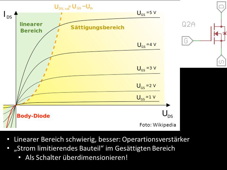 """Mosfet Verhalten Foto: Wikipedia Linearer Bereich schwierig, besser: Operartionsverstärker """"Strom limitierendes Bauteil"""" im Gesättigten Bereich Als Sc"""