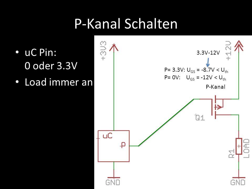 P-Kanal Schalten uC Pin: 0 oder 3.3V Load immer an P-Kanal P= 3.3V: U GS = -8.7V < U th P= 0V: U GS = -12V < U th 3.3V-12V