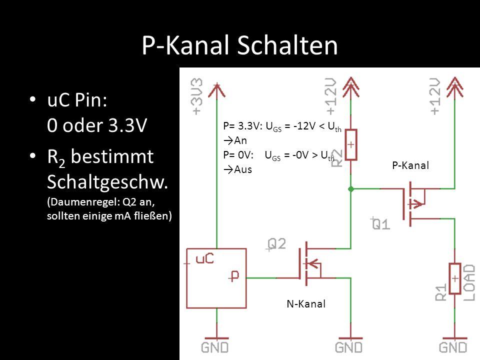P-Kanal Schalten uC Pin: 0 oder 3.3V R 2 bestimmt Schaltgeschw. (Daumenregel: Q2 an, sollten einige mA fließen) N-Kanal P-Kanal P= 3.3V: U GS = -12V <