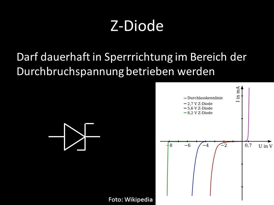 Z-Diode Darf dauerhaft in Sperrrichtung im Bereich der Durchbruchspannung betrieben werden Foto: Wikipedia