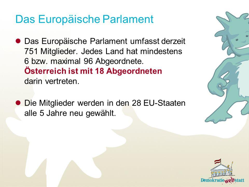 Das Europäische Parlament Das Europäische Parlament umfasst derzeit 751 Mitglieder. Jedes Land hat mindestens 6 bzw. maximal 96 Abgeordnete. Österreic